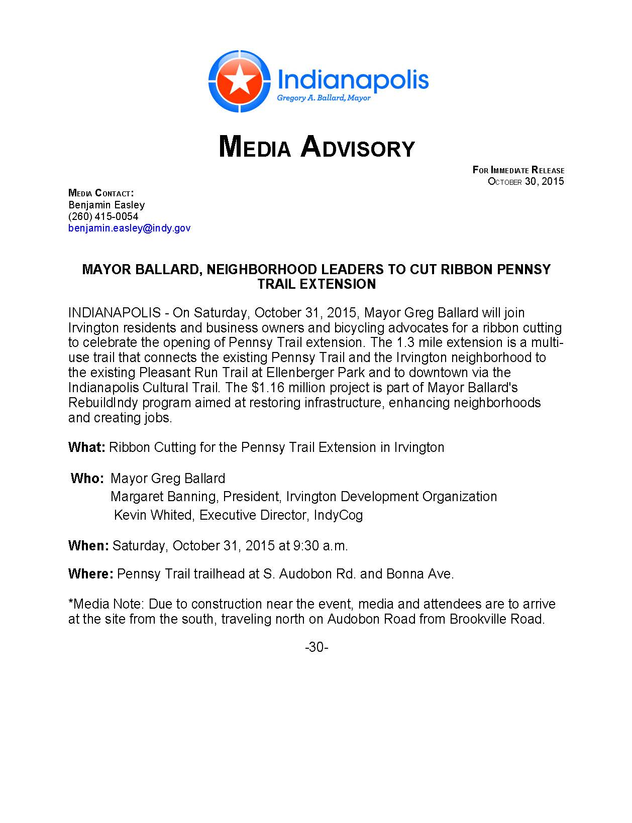 Pennsy Trail Media Advisory